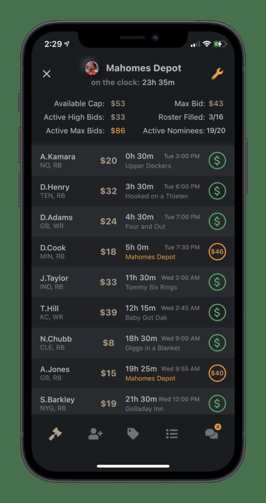 mobile app slow auction draft